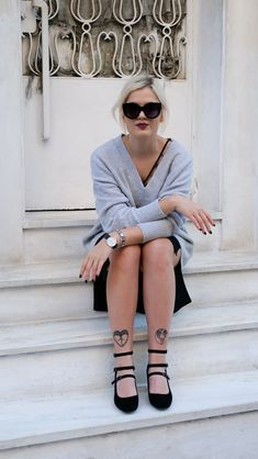 i Mikri Ollandeza in black & grey Black Slip Dress, Grey Outfit, Black Sunglasses, Youtubers, Sunnies, Knitwear, Black And Grey, Stylists, Greek