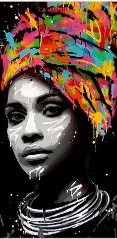 Explore Home Decor Ideas & Arts 2019 Abstract Portrait Painting, Portrait Art, Painting Art, Arte Bar, African Art Projects, Tableau Pop Art, African Art Paintings, Africa Art, Black Artwork
