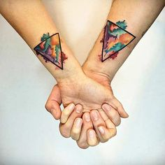 Watercolor Triangle Couple Tattoos