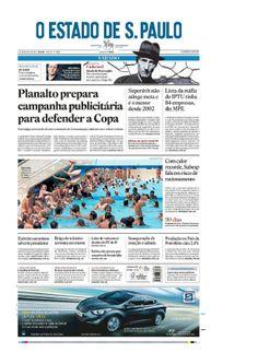 Capa de hoje: Planalto prepara ampla campanha publicitária para defender a Copa http://oesta.do/MIzKbw