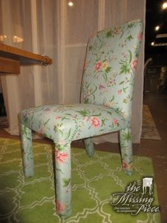 This is a set of six upholstered parsons chairs in a blue floral patterned upholstery. What a sweet look. These are just perfect for a cottage style space! They sit well too.