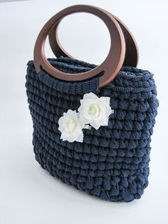 Handmade crochet bag in blu webbing with little di Studio43122 #bag #handmade #blue #rose #white #wood #fall #color #delicate