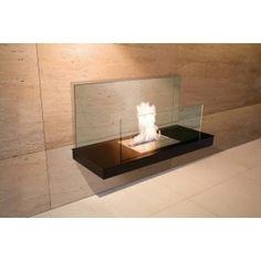Biokamin Wall Flame II - Stahl schwarz, Glas transparent