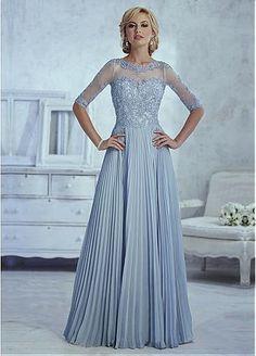 Chiffon Purple A-line Skirt Illusion Bateau Neckline Floor-Length Mother Dress