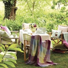 Garden chairs with cushions and throws | Summer ready garden | Country Homes & Interiors | PHOTO GALLERY | Housetohome.co.uk