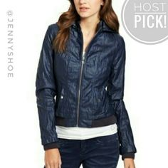 {guess} 'blue bamba' bomber jacket Panels of diamond stitching add unique texture to this signature bomber jacket. This piece keeps you warm without all the bulk, making it a great layering piece for the fall.   ? Faux-leather. Round collar. Detachable hood. Long sleeves with ribbed cuffs. ? Diamond-stitch panels on front and at center back. Ribbed hem. Two snap-button welt pockets on front.  ? Front zipper closure. Lined. ? Shell: 100% Polyurethane. Backing: 100% Polyester. Lining: 100%…