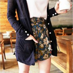 love this combination: floral shorts, white t, and a navy cartigan