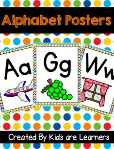 Bright color Alphabet posters are great addition in your classroom. This packet have 26 alphabet posters which includes capital letters, small letters and pictures. Abc Alphabet, Alphabet Posters, Diy Classroom Decorations, Classroom Ideas, Phonics Lessons, School Videos, Small Letters, Paper Organization, Kindergarten Classroom