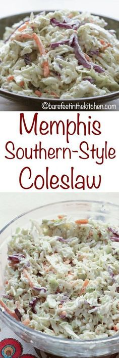 Memphis Southern-Style Coleslaw - get the recipe at barefeetinthekitc. - Memphis Southern-Style Coleslaw – get the recipe at barefeetinthekitc… - Slaw Recipes, Healthy Recipes, Chicken Recipes, Healthy Food, Comfort Food, Vegetable Dishes, Summer Salads, Side Dish Recipes, Soup And Salad