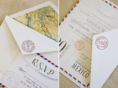Destination Wedding Invitations - DIY ~ Alexandra & Eric -- Call (310) 882-5039 if you are looking for CA wedding officiants. https://OfficiantGuy.com