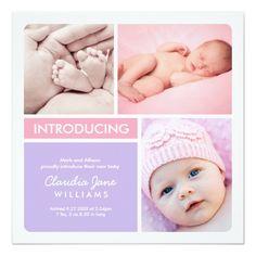Multiple Photo Birth Announcement   Pink Purple Square Invitation Card