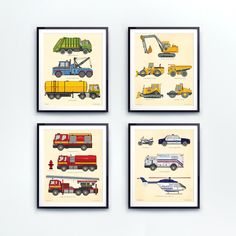 Boy room decor, set of 4. Toddler boy, room decor, gifts for boys. Truck print, vehicle art, construction decor, police cars, fire truck by LittleGrippersStore on Etsy https://www.etsy.com/listing/242956353/boy-room-decor-set-of-4-toddler-boy-room