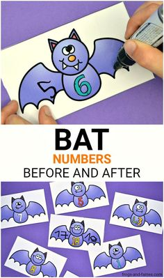 These Bat Numbers Before and After cards and worksheets are perfect for a fun Halloween practice for kids! They're great for an engaging math practice for learning to recognize and order numbers from Kindergarten Classroom, Math Activities, Math Games, Preschool Activities, Grande Section, Petite Section, Math Stations, Math Centers, Halloween Activities For Kids