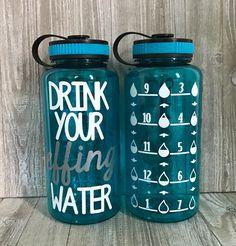 Water Intake Tracker, Water Bottle Workout, Personalized Water Bottles, Silhouette Machine, Motivational, Monogram, Inspirational, Drinks, Fitness