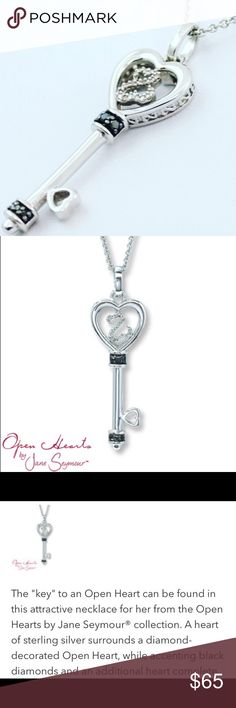 """Sterling Silver Black Diamond Heart Key Charm Used good condition. DOES NOT INCLUDE CHAIN. Price is reflected. No missing or damaged diamonds. Minimal wearing. See pics for item details. Pendant measures approximately 1 7/8"""" long, including bale. Pendant is marked, """"925  JWBR."""" Jane Seymour Open Heart Collection. Black Diamond Jewelry Necklaces"""