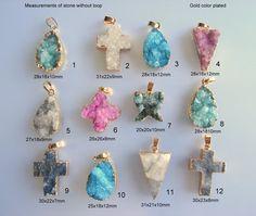 SALE. Natural Agate Druzy  Pendant Ice by ANJewelryAndSupplies Druzy Jewelry, Selling Jewelry, Agate, Plating, Jewelry Making, Quartz, Gems, Ice, Brass