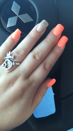coral nails with gold sparkle. #summer #nails