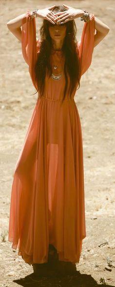 cool Boho look | Vaporous orange maxi dress with boho accessories...