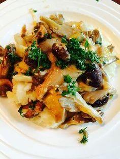 Recept voor lekker en gezond confortfood met knolselderij en paddenstoelen voor als het koud en nat is.