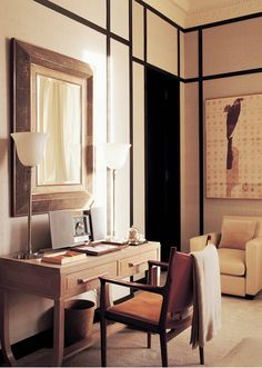 Valentino´s London home, interior design by Jacques Grange. Armchair JH509 by Hans J. Wegner, Denmark, 1960. / Habitually Chic