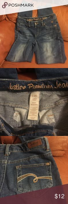 Justice jeans dark blue jeggings. Lots of stretch to these jeggings. Naturally faded, skinny cut Justice Bottoms Jeans