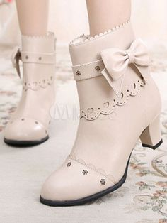a971e4ead089 Classic Lolita Ankle Boots Round Toe Prism Heel Bows White Lolita Winter  Booties