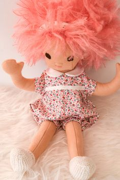 Rag Doll Baby Doll with Pink Hair by PhoebeandEgg on Etsy