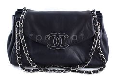 Chanel 13in. Jumbo Maxi Navy Large Sensual Collection Accordion Flap Bag