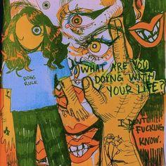 Pretty Art, Cute Art, Art Sketches, Art Drawings, Arte Punk, Posca Art, Arte Obscura, Arte Sketchbook, Hippie Art