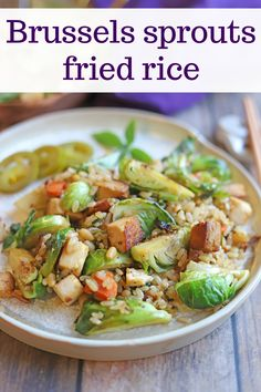 This one dish meal works as an entree or side dish. Filled with Brussels sprouts, carrots, and herbs, it's loaded with flavor. Add tofu for another punch of protein. Vegan and gluten-free.  #veganrecipes #veganfoodshare #friedrice #ricerecipes Vegan Appetizers, Vegan Dinner Recipes, Vegan Recipes Easy, Rice Recipes, Appetizer Recipes, Beef Recipes, Cooking Recipes, Vegan Meals, Vegan Fried Rice