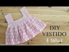 Cómo tejer vestido de niña a crochet de 1 a 6 años paso a paso - YouTube Crochet Summer Dresses, Crochet Girls, Crochet For Kids, Crochet Top, Baby Knitting Patterns, Baby Patterns, Crochet Patterns, Crochet Baby Sweaters, Crochet Baby Clothes