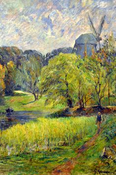 Paul Gauguin - The Queen's Mill Ostervold, 1885 Ny Carlsberg Glyptotek - Copenhagen Denmark Paul Gauguin, Henri Matisse, Landscape Art, Landscape Paintings, Landscapes, European Paintings, Contemporary Paintings, Paintings Famous, Impressionist Artists