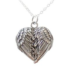 Sterling Silver Angel Wings Heart Locket Necklace, 18 Inch ** Be sure to check out this awesome product.