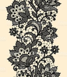 Image detail for -Vertical Seamless Pattern Black Lace Royalty Free Stock Vector Art . Black Lace Tattoo, Lace Drawing, Brust Tattoo, Victorian Lace, Motif Floral, Lace Patterns, Tattoo Patterns, Design Patterns, Lace Design