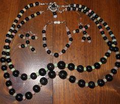 "Chloe's Creations Item 303- 21"" Graduated Black Tourmaline & Welo Opal Set. by JewelryMadeByChloe on Etsy"