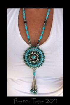 Around & Around - Bead Embroidered Silver, Turquoise, Teal & Purple Long Necklace with Tassel by Triz Designs