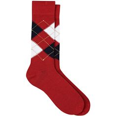 Barneys New York Men's Argyle Cotton Mid-Calf Socks ($45) ❤ liked on Polyvore featuring men's fashion, men's clothing, men's socks, red, mens red socks, mens argyle socks, mens cotton socks, mens red argyle socks and mens socks