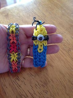 My two newest rainbow loom bracelets!  A minion from the Disney movie despicable me and the other one is called a starburst pattern!