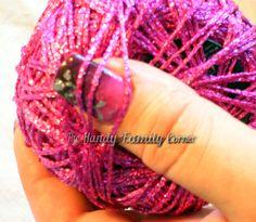 Disco yarn. Glitter Yarn, glitzy yarn, Shine, sparkle yarn, glamour yarn, color cyclamen, metal yarn, lame. by HandyFamily on Etsy
