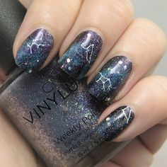ProcrastiNails: Nail Art: Galaxy for #31DC2016 // Galaxy Stamping feat. CND Vinylux Dazzling Dance