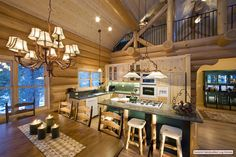 Log Home Interior Beautiful Open Kitchen and Dining Area