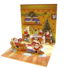 Greeting Life Mini Santa Pop Up Christmas Mini Card P-159