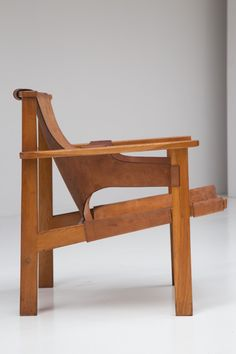 """""""Trienna"""" lounge chair by Carl-Axel Acking, made from oak and leather. This model was designed in Documentary about Finmar Ltd, the first major importer of Mid-Century European design into the UK Painted Wooden Chairs, Chair Design Wooden, Wood Design, Retro Furniture, Cool Furniture, Furniture Design, Compact Table And Chairs, Accent Chairs Under 100, Swivel Rocker Recliner Chair"""