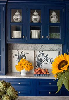 Blue Cabinets. For more ideas for decorating with blue, check out http://decoratingfiles.com/2012/08/decorating-with-blue/
