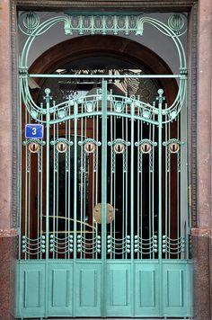 Art Nouveau Beautiful Architecture, Art And Architecture, Architecture Details, Prague, Art Nouveau Arquitectura, Wrought Iron Doors, Floor Ceiling, Art Nouveau Design, Iron Work