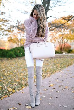Fall outfit, winter outfit, casual outfit, night out outfit, valentine's day outfit, casual valentine's day outfit - pink sweater, white skinny jeans, grey over the knee boots