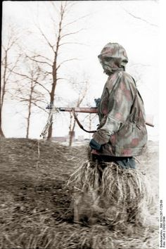 A German sniper on the move on the Western Front.