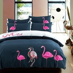 Pink White and Dark Blue Girls Flamingo Pattern Vintage Simply Shabby Chic Unique 100% Organic Cotton Full, Queen Size Bedding Sets