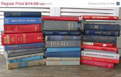 on sale red blue gray book stack one yard high by rivertownvintage