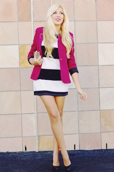 love the pop of color in the blazer